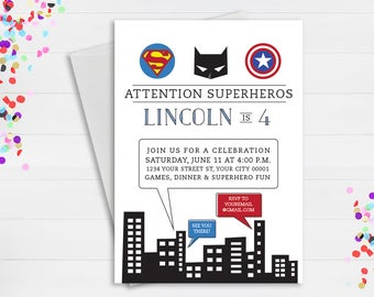Superhero Birthday Party Invite // Batman, Superman, Captain America Birthday Party Invite  // Avengers Birthday Party Invitation