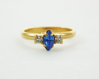 Marquise Sapphire and White Topaz Ring