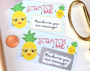 10 Custom DIY Pineapple Secret Message Lunch Box Note Scratch off Cards