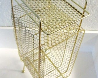 Atomic Era Gold Punched Steel Magazine Rack