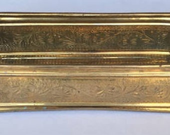 Retro Brass Planter, rustic metal decor, decorative brass box, storage bin