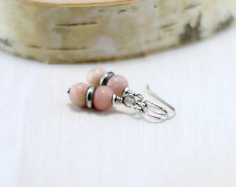 Pink Opal Earrings, Oxidized Sterling Silver Pink Gemstone Dangle Earrings October Birthstone Wire Wrapped Pink Opal Jewelry
