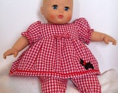 Christmas Sale Red and White Checkered Baby Doll Pants Outfit -with Scotty Dog Applique