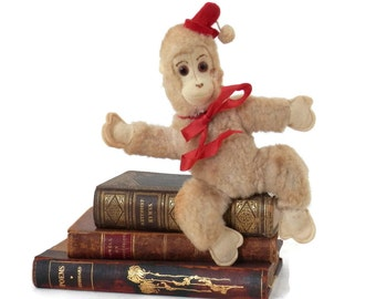 Antique Toy Monkey Plush with Felt Face and Hands Red Wool Hat and Pom-Pom