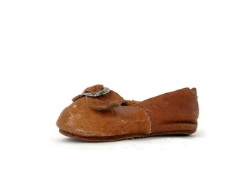 Antique Leather Doll Shoe with Silver Buckle and Leather Soles Tiny Single Tan Slipper