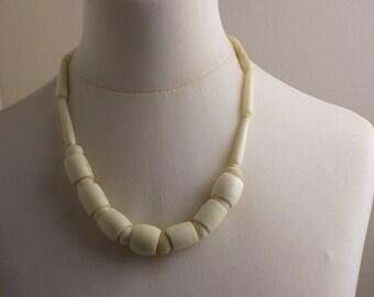 Mid Length 1970s Polished Bone Bead Beaded Necklace Kitsch