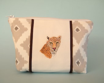 Leopard make up bag,  hand stitched,  cotton fabric bag,  lined zipper pouch,  wild cat bag,  ladies cosmetic bag,  grey and white bag