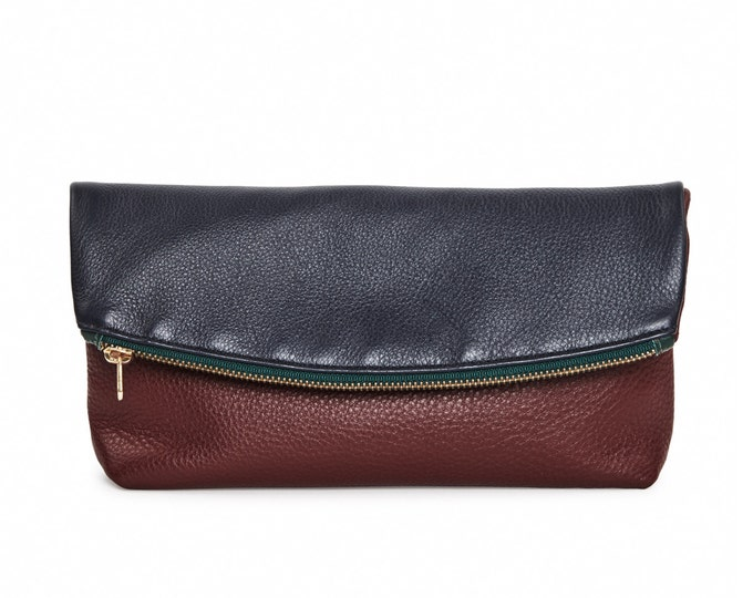 Navy & burgundy leather foldover clutch block party