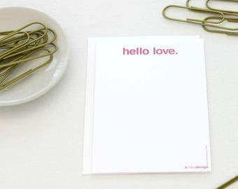 Hello Love Stationery Cards, Set of 6 Cards, Modern Stationery Set, Pink Postcard Set, Minimalist Card Set