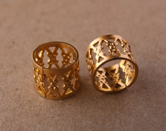 Gold 9mm Hole (3/8 Inch) Filigree Cuffs