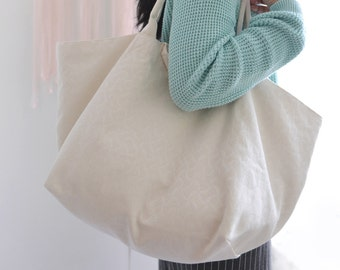 Large simple tote bag. linen with light grass green market tote. Everyday wear  shopping bag. Style140W. Ready to ship