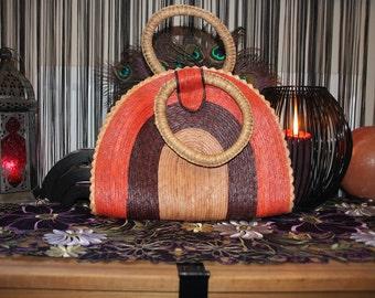 Sunshine Superman-Handmade Hippie Boho Orange Brown and Tan Woven Straw Handbag/Purse