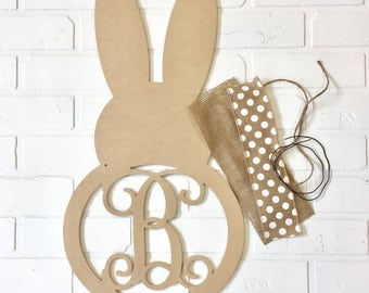Easter Bunny Decor - Easter Monogram - Easter Door Hanger - Unfinished Craft Kit - Do It Yourself Kit - Easter Bunny Gift - Gift for Easter