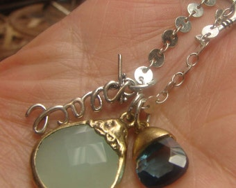 """Vint Artisan Silver Necklace with faceted stones-15 grms-18""""-extends to 19""""-1623"""