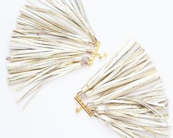 Oversized tassel earrings. Natural leather tassel earrings. Statement earrings. Tassel jewelry. Long tassels. Fringe earrings. /MOVEMENT 4