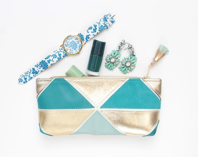 Natural leather pouch-makeup bag-cosmetic purse-small purse-zipper pouch-geometric clutch-teal blue gold-brush case-colorblock/MINI PRISM 21