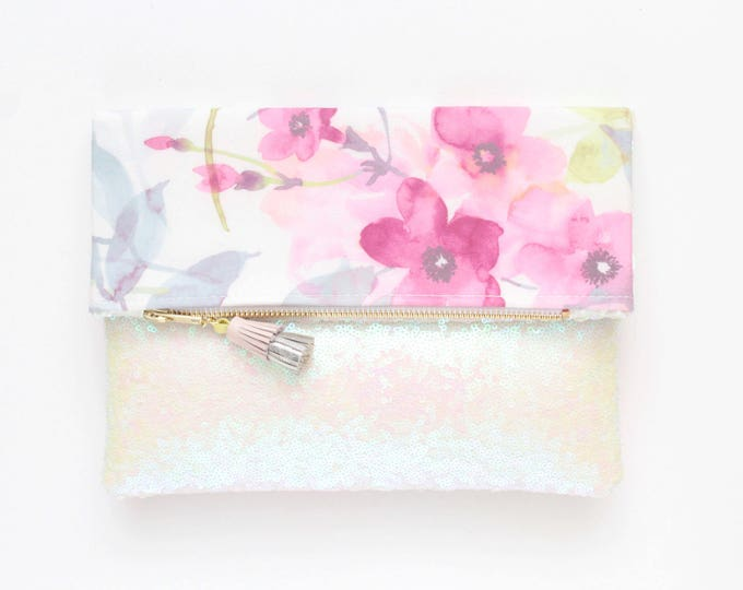 BLISS 4 / Sequin clutch bag-fold over bag-wedding bag-bridesmaid gift-floral print-flower fabric-pink sequin-pink white-Ready to Ship