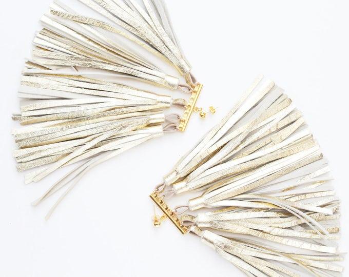 MOVEMENT 4 /Tassel earrings-oversized earrings-leather tassels-metal statement earrings-gold earrings-ethnical tribal earrings-Ready to Ship