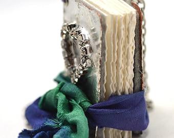 Rhinestone Love Little Book Necklace