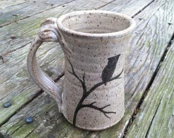 Owl Pottery Mug, Handmade Pottery Mug, Owl Pottery