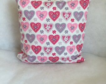Handmade Pink Grey Love Heart Cushion Cover, Girls Bedroom Cotton Pillow  12 inch square