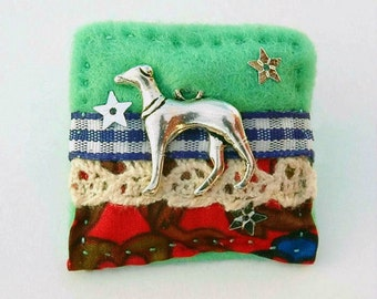 greyhound brooch - greyhound gifts - greyhound jewelry - greyhound rescue - hand sewn brooch - dog lover gift - special dog gifts - brooch