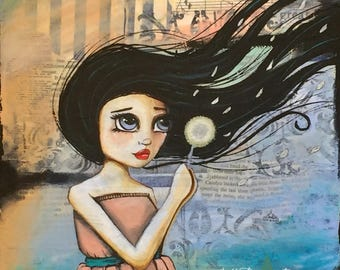 25x25 Mixed Media Canvas painting with girl blowing a Dandelion making a wish  'DANDELION DREAMS' mixed media collage free shipping to aust