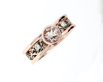 Morganite filigree engagement ring, rose gold, white gold, diamond engagement, bezel, morganite ring, unique, two tone wedding rings