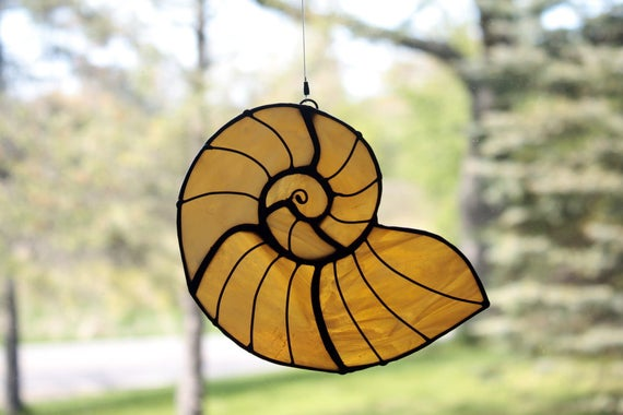 Stained Glass Sea Shell, Amber