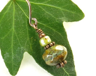 Green bead earrings Picasso Czech glass & antiqued copper dainty dangles
