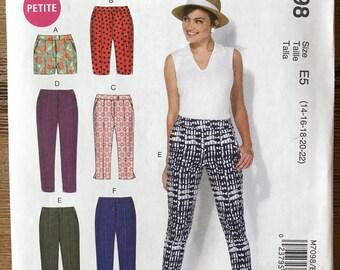 UNCUT Misses' Shorts and Pants Sewing Pattern McCall's 7098 Size: 6-8-10-12-14-16-18-20-22 Capri Pants, Cigarette Pants, Bermuda Shorts