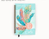Personalized Day Planner 2017 - 2018 Wire Bound Agenda with Watercolor Turquoise Peacock Feather Design