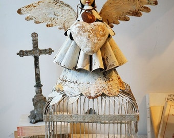 Santos cage angel folk art doll French Nordic inspired angelic Santero style figure w/ wings one of a kind home decor art anita spero design