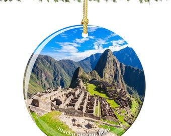 Machu Picchu Christmas Ornament of Peru in Porcelain, Double Sided 2.75 Inches