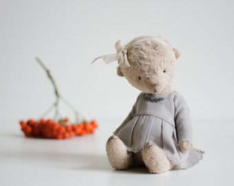 Made To Order Handmade Stuffed Animal Teddy Bear Toy Gray Cotton Embroidered Dress 7 Inches FREE Shipping