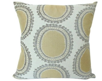 Kravet Yellow and Brown Ikat Designer Pillow Cover