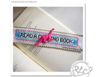 "Bookmark Cross Stitch Pattern ""Read a F--ing Book"". PDF instant download modern cross stitch. MATURE."