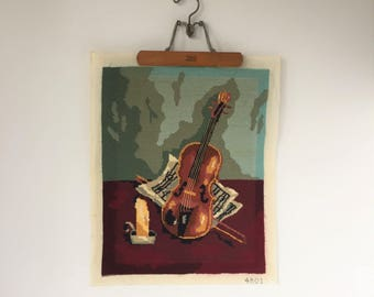Violin Needlepoint Canvas, Vintage Needlepoint Picture, Chair or Bench Cover, Music Room Decor