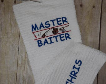 Fishing towel. Great personalized gift for the fisherman with a warped sense of humor.