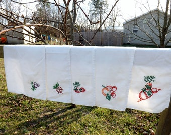 Set of six cotton flour sack tea towels with hand embroidery of various fruits and vegetables