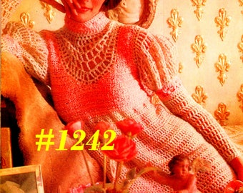 A BEST Vintage 1970s Mod Midi Dress  #1242 PDF Digital Crochet Pattern