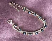 evil eye diamond dainty nazar blue eye bracelet gold cute