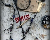 Fly Fishing Lanyard + Tippet Holder W/ Pewter Skulls, Buffalo Horn, Carved Bone, Wood & Silver Finished Cooper Wire Beads on 2mm Paracord