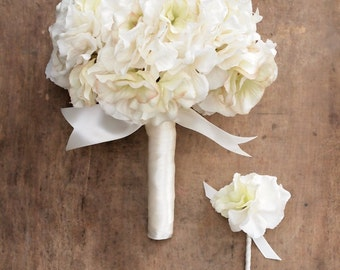Ivory Hydrangea Wedding Bouquet Everlasting keepsake Bridal Bouquet