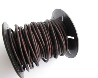 2mm Round Brown Leather Cord for jewelry making (2 YARDS) - great for necklaces and bracelets