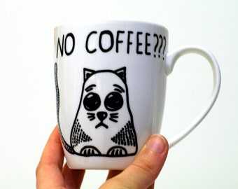 Cat lady gifts Coffee and cats Funny coffee mug Ceramic Cat mug Cat lover gift Coffee cup Funny cat mug Unique White mug Funny mugs