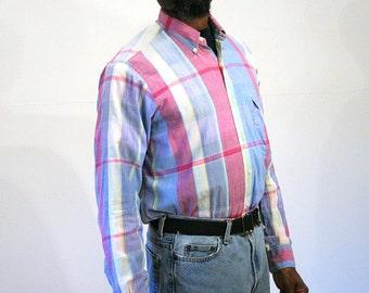 60s Plaid Madras Shirt, Gant Long Sleeve Shirt, Button Down Madras Pink Blue Shirt, Cotton Madras Plaid Shirt, Vintage Madras Shirt M