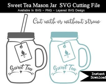 Sweet Tea Mason Jar SVG Cutting File - Transparent PNG