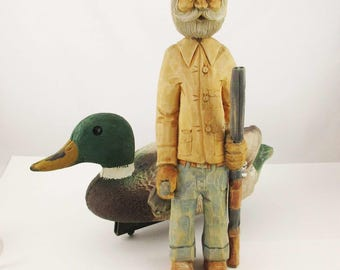 Who is this guy? - Wood Figure - Bearded Hunter With Shotgun and Goose - Artisan Carved and Painted - Folk Art - Primitive - Caricature