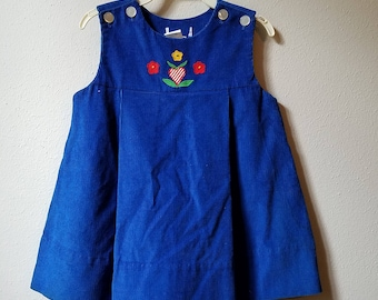 Vintage Blue Corduroy Jumper Dress with Appliqued Flowers - Size 4t - new, never worn